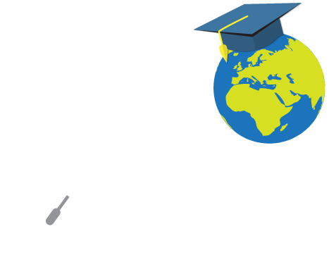 A computer mouse plugged in to a globe with a graduation cap on the globe.